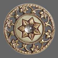 Victorian Pierced Brass Button w Paste Reflector
