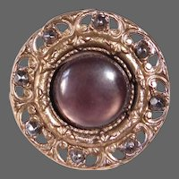 Victorian Brass Cut Steel & Mother of Pearl Button