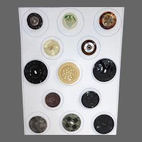 VT Button Collector's Card of 13 Assorted Celluloid & Lucite Plastics 1920s-50s