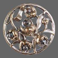 Victorian Art Nouveau Brass Flowers Openwork Button w Cut Steels