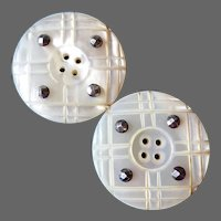 Carved Mother of Pearl Victorian Buttons w Cut Steel