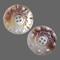 Carved Mother of Pearl Large Button Pair