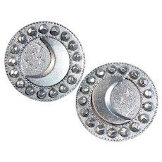 Pair of Hard Pewter Moon & Star Buttons