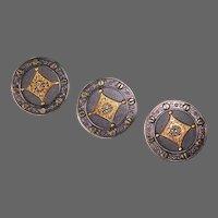 Set of 3 Edwardian Brass Buttons