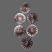 Set of 6 Carved Starburst Mother of Pearl Large Buttons