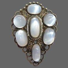 830 Gilt Silver Ornate Dress Clip/Pendant 7 Large Moonstones & Seed Pearls