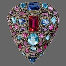 Fabulous Large Multi Colored Faceted Jewel Clip