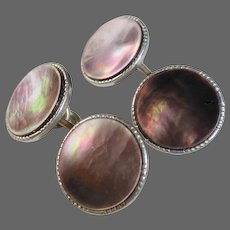 Art Deco Gray Mother of Pearl Double Sided Gold Filled Cufflinks