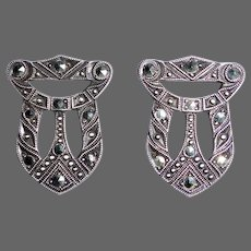 Art Deco Sterling & Marcasite Dress Clip Pair