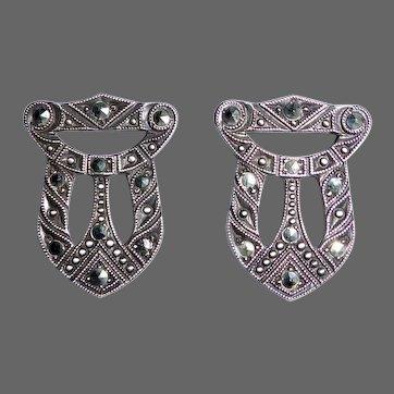 Art Deco Sterling & Marcasite Dress Clip Pair