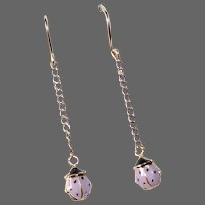 14k Double Sided Enameled Ladybug Drop Earrings