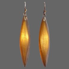 Alexis Bittar Glowing Golden Amber Carved Lucite Hoop Earrings