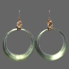 Alexis Bittar Sage Green Carved Lucite Hoop Earrings