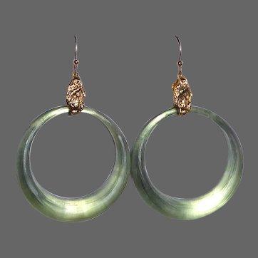 Alexis Bittar Sage Green Carved Lucite Hoop Earrings