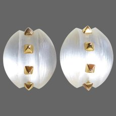 Alexis Bittar Luminescent White Hand Carved Lucite Earrings w Gold Pyramid Studs