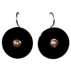 14k Victorian Black Onyx & Pearl Mourning Earrings