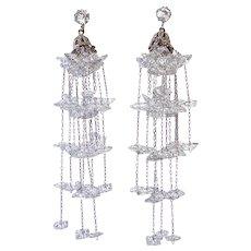 Czech Art Deco Chandelier Drop Earrings w Sparkling Crystals on Chain