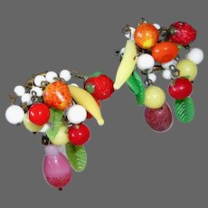 Vintage Glass Fruit Salad Carmen Miranda Style Earrings
