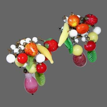 Vintage Glass Fruit Salad Carmen Miranda Style Earrings