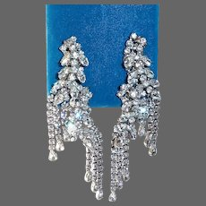 Long Sparkling Clip Earrings Dripping w Rhinestones