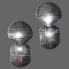 Sterling Drop Earrings w Raised Reticulated Design
