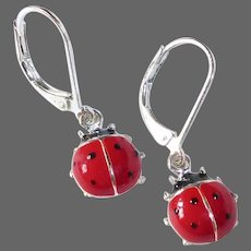 Sterling & Enamel Ladybug Leverback Pierced Earrings