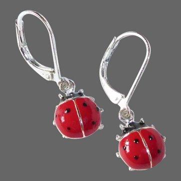 Sterling & Enamel Ladybug Leverback Pierced Earrings