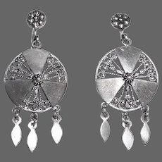 Victorian Sterling Pierced Earrings w Dangles 14k Earwires