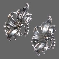 Sterling Exotic Floral Retro Screw Back Earrings