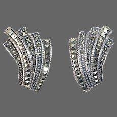 Judith Jack Sterling & Marcasite Omega Clip Earrings