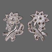 Sterling & Marcasite Studded Daisy Earrings