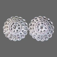 Sterling & Marcasite Dome Earrings