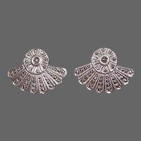 Art Deco Sterling & Marcasite Glittering Fan Earrings