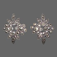 Art Deco Sterling & Marcasite Floral Earrings