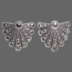 Art Deco Sterling & Marcasite Shield Earrings