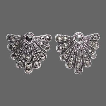 Art Deco Sterling & Marcasite Shield Earrings