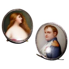 Hand Painted Porcelain Portraits Napoleon & Josephine AMW Engraved Sterling Rimmed Frame