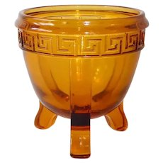 Amber Three Leg Pressed Glass Mini Bowl