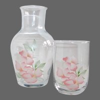 Tumble-Up Bedside Water Decanter & Tumbler w Floral Design