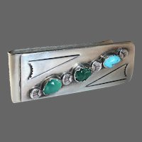 Native American Sterling & Turquoise Money Clip