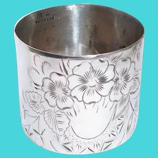 Edwardian Sterling Napkin Ring Beautiful Floral Engraving