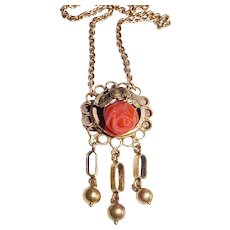 Victorian 10k Sculptural Pendant w Carved Coral Rose & 14k Chain