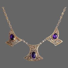 14k Edwardian 3 Panel Cannetille Filigree Necklace w Amethyst
