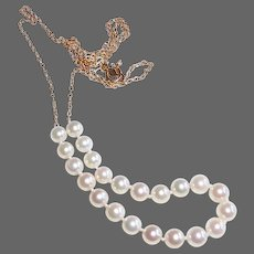 14k Gold Chain Necklace w 22 Cultured Pearls