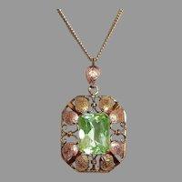 18k Rose & Yellow Gold Edwardian Arts & Crafts Pendant Necklace