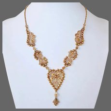 Outstanding 22k Middle Eastern Handcrafted Filigree Ethnic Necklace