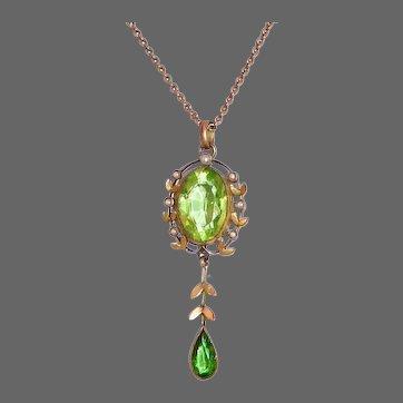 Edwardian 9k Peridot Pendant Drop Necklace w Seed Pearls