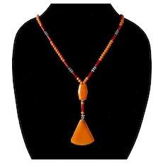 Bold Art Deco Glass Bead Necklace w Pendant Drop