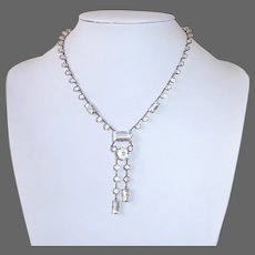 Art Deco Sterling & Crystal Double Drop Necklace