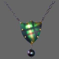 Alexis Bittar Plaid Shield Necklace w Black Pearl